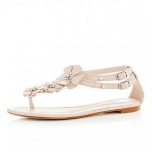 China Skin Pink Womens Strappy Flat Sandals With Flower, Rhinestone on sale