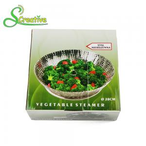 China Stackable Collapsible Stainless Steel Vegetable Steamer Basket Insert Food Grade on sale
