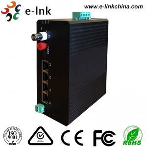 China Video Ethernet Industrial Fiber Media Converter 4 10 / 100M Ethernet 1 Video 1RS485 Data on sale