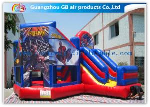 China Commercial Spiderman Inflatable Bouncy Castle Kids Inflatable Bouncer With Slide on sale