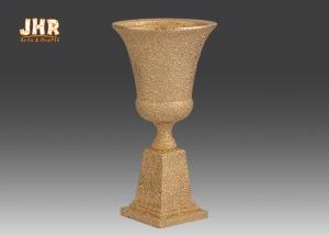 China Classic Frosted Gold Fiberglass Urn Planters Centerpiece Table Vase Trophy Shape supplier
