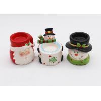 Novelty Ceramic Tea Light Holder , Snowman Candle Tea Light Holder For Christmas