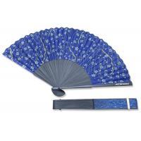 China Open Size 14.96 Hand Held Folding Fans Navi Blue Custom Folding Hand Fans on sale