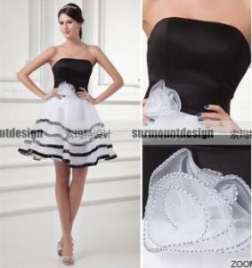 China CH1934 Beautiful Strapless Black And White Puffy Short Prom Dresses on sale