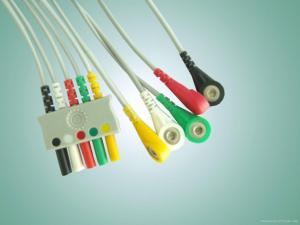 China 3/5 Lead Euro type lead wire ,ecg leadwire for all l Euro-Plug System , IEC/AHA snap end on sale