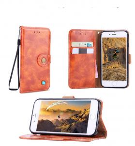 China For iphone 8 Retro Cow Real Genuine Leather Wallet Credit Button Card kickstand Phone Case Cover with a lanyard on sale