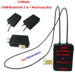 4.5 Watt Powerful GSM Box Neckloop with Black Megntic mini micro earpiec  Spy Wireless GSM Locket With Nano Earpiece Set