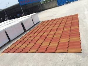 China 2017 Special Color Glavalume Steel Stone Coated Roofing Tiles Orange Red on sale