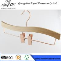 China Rose Gold Wooden Trouser Hangers With Clips / 30 ~ 36cm Bottom Hangers on sale