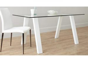 China Tempered Glass Top Modern Dining Table Furniture 6 Seater 1600*800*750mm on sale