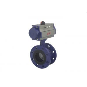 China Ductile Iron Pneumatic Butterfly Valve Double Flange Type DN40 ~ DN1200 on sale