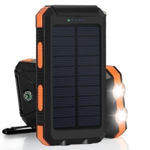 China Inbuilt Compass 8000mAh Polymer Battery IP67 Waterproof Solar Power Bank for Hiking on sale