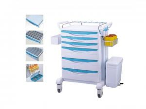 China Light Weight ABS Mobile Medical Storage Carts , Central Lock Medical Equipment Cart on sale