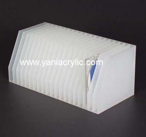 China White Stylish Multi Pocket Plasticity Sandblast Acrylic CD Display Stand For Office on sale
