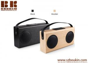 China 2018 newest wooden stereo wireless speaker bluetooth portable music mini subwoofer speaker on sale