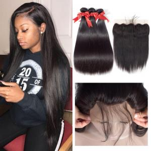 China 8 Inch 100 Peruvian Human Hair Weave Straight Bundles With Lace Frontal 1B on sale