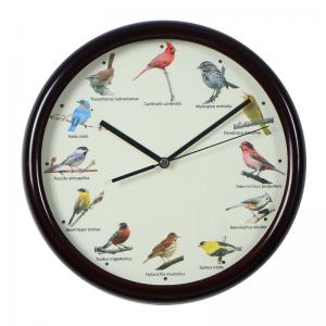 China 10in Brown Wall Clock with Bird Sound outdoor garden clock wall clock plastic clock unique clockdifferent kinds of birds on sale