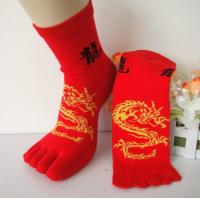 Sweat-absorbent Personalized Novelty Red Finger Five Toe Socks With Dragon Pattern For Men / Women