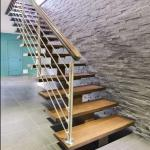 Modern floating stair Floating Wood stair with thick solid wood treads