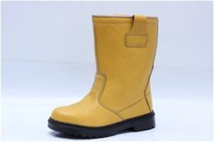 China high cut safety work boots emboss split leather upper, dual pu outsole steel toe&steel plate available on sale