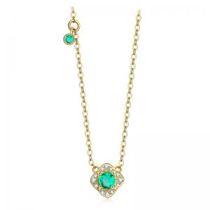 China 18 Karat Gold Necklace , Emerald Green Stone Necklace With Diamond Accents on sale