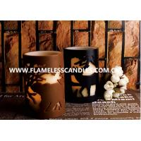 China Flameless 2 Layer Carved LED Decorative Pillar Candles With Chrismas Pattern on sale