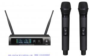 China LS-670 wireless microphone system UHF PRO dual channel headset lavalier LCD blacklight fixed frequency on sale