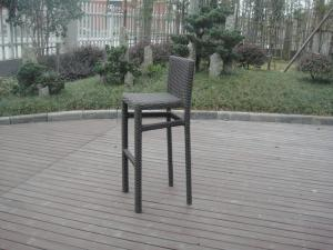 China Resin Wicker Bar Set With Cushion , Black Bar Table With Glass on sale