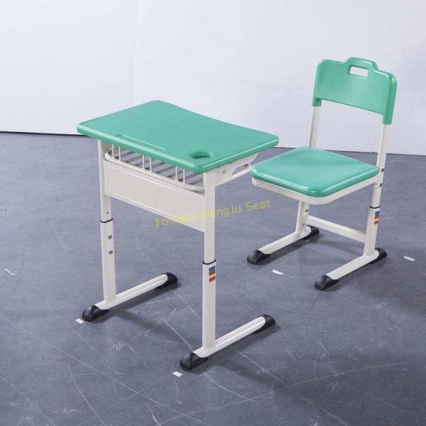 Buy Cheap Aluminum Frame Middle High Student Desk And Chair Set HDPE  Surface Mint Green From