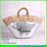 LUDA natural seagrass straw tote sequins fabric deco straw shopping basket bag