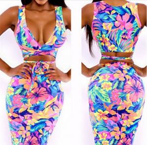 China Sleeveless Knee Dress party women dress Sexy Floral Print dress Block Stretchy Bow Bodycon on sale