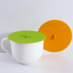 China Green Orange Round Glass Ceramic Silica Gel Mark Tea Cup Lid on sale