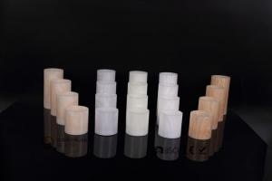 China 3 pcs Real Wax Led Pillar Candles With Wood Finish , Clear Patterns on sale