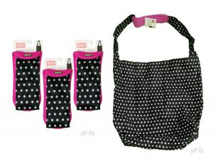China Lot Of 3 BUILT Comfy Reusable 2 in 1 Shopping Bag Tote Bags Back & White Dot NEW on sale