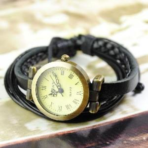 China Vintage Ladies Womens Knitted Genuine Leather Band Cuff Hemp Bracelet Wrist Watch black on sale