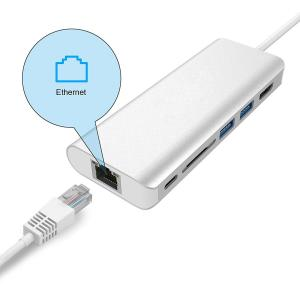 China USB-C Type C 3.1 to Multiple 3 USB Ports Hub with RJ45 Ethernet Network LAN Adapter on sale