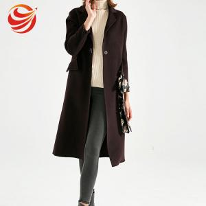 China Luxury Elegant Fitted Woolen Womens Long Winter Jackets With Printed Belt on sale