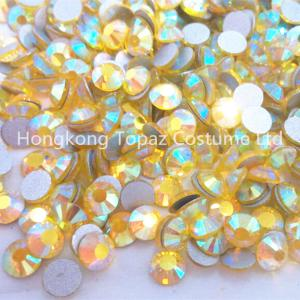 China Citrine AB Color SS20 Crystal FlatBack Non Hotfix Nail Art Glass Rhinestones on sale