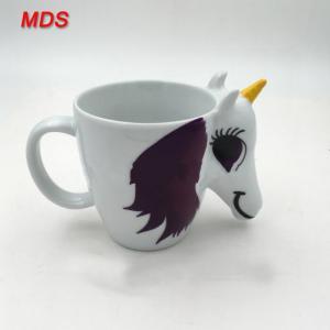 China White OEM logo unicorn ceramic mug changing with handle on sale