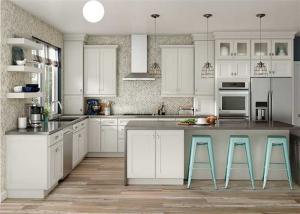 China Modular Solid Wood Kitchen Cabinets Paint Door Finish Blum / Dtc Hardware on sale