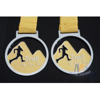 Cut Out Design Custom Award Medals , Personalised Medals With Yellow Ribbon