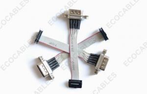 China Electrical 1.0mm IDC Cable Assembly D-Sub Male Connector Wire Harness on sale