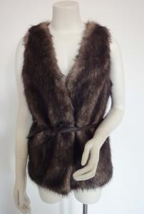 China Adult Ladies Fashion Clothing fashion fake fur waistcoat with PU belt on sale