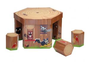 China Eco Corrugated Cardboard Furniture ENCF027 coffee Table and seats for children toys supplier