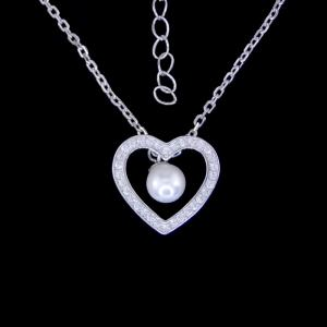 China Natural Pearl Drop Necklace Silver / Heart Pendant Necklace With Rhinestone on sale