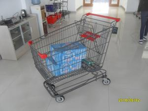 China Grey Powder Coating Asian Type Wire Shopping Trolley With 4 Swivel 5 Inch Casters on sale