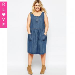 China Spring and summer big yards College Wind waist sweet vest denim dress with a double plug on sale