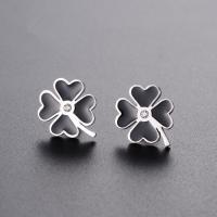 Custom fashion four leaf clover jewelry earrings stainless steel metal lucky you enamel stud earrings
