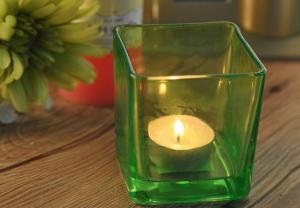 China OEM Large Square Glass Candle Holders , Colored Glass Candle Holders on sale