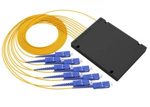 China Digital Passive PLC Fiber Optic Splitter 1x8 ABS Box Type With SC / PC Connector on sale